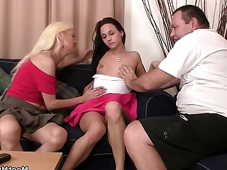 Granny Group Sex Mature Old and Young Sweet Teen Threesome Toys
