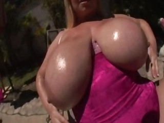 Big Tits Bikini MILF Natural Outdoor Pool Solo Tattoo